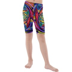 Eye Of The Rainbow Kids  Mid Length Swim Shorts by WolfepawFractals