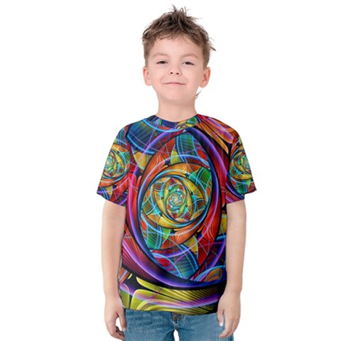 Eye Of The Rainbow Kids  Cotton Tee by WolfepawFractals