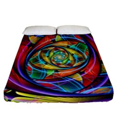 Eye Of The Rainbow Fitted Sheet (queen Size) by WolfepawFractals