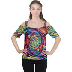 Eye Of The Rainbow Women s Cutout Shoulder Tee