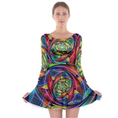 Eye Of The Rainbow Long Sleeve Skater Dress