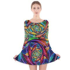 Eye Of The Rainbow Long Sleeve Velvet Skater Dress by WolfepawFractals
