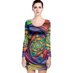 Eye Of The Rainbow Long Sleeve Velvet Bodycon Dress by WolfepawFractals