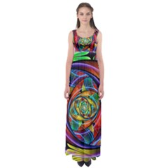 Eye Of The Rainbow Empire Waist Maxi Dress by WolfepawFractals