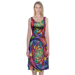 Eye Of The Rainbow Midi Sleeveless Dress by WolfepawFractals