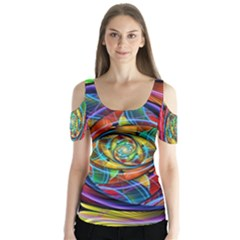 Eye Of The Rainbow Butterfly Sleeve Cutout Tee  by WolfepawFractals
