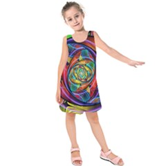 Eye Of The Rainbow Kids  Sleeveless Dress