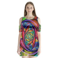 Eye Of The Rainbow Shoulder Cutout Velvet  One Piece by WolfepawFractals