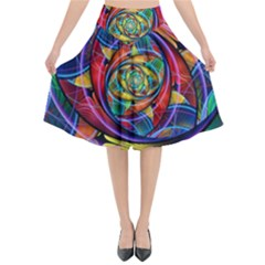 Eye Of The Rainbow Flared Midi Skirt