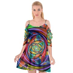 Eye Of The Rainbow Cutout Spaghetti Strap Chiffon Dress