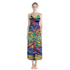Eye Of The Rainbow Button Up Chiffon Maxi Dress