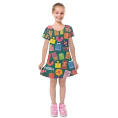 Presents Gifts Background Colorful Kids  Short Sleeve Velvet Dress