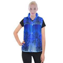 Background Christmas Star Women s Button Up Puffer Vest