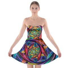 Eye Of The Rainbow Strapless Bra Top Dress by WolfepawFractals