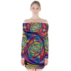 Eye Of The Rainbow Long Sleeve Off Shoulder Dress by WolfepawFractals