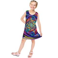 Eye Of The Rainbow Kids  Tunic Dress by WolfepawFractals