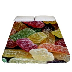 Jelly Beans Candy Sour Sweet Fitted Sheet (king Size) by Nexatart