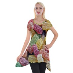 Jelly Beans Candy Sour Sweet Short Sleeve Side Drop Tunic by Nexatart