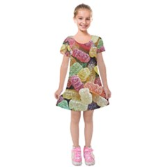 Jelly Beans Candy Sour Sweet Kids  Short Sleeve Velvet Dress