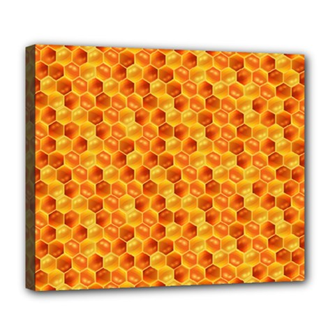 Honeycomb Pattern Honey Background Deluxe Canvas 24  X 20   by Nexatart