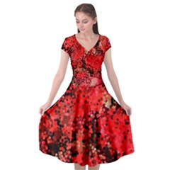 Red Polka Dot Roses Cap Sleeve Wrap Front Dress by DressitUP