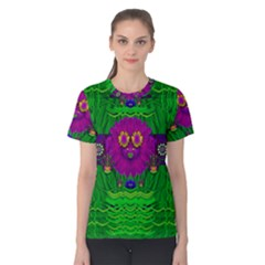 Summer Flower Girl With Pandas Dancing In The Green Women s Cotton Tee by pepitasart