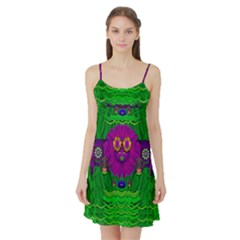 Summer Flower Girl With Pandas Dancing In The Green Satin Night Slip by pepitasart