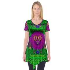 Summer Flower Girl With Pandas Dancing In The Green Short Sleeve Tunic  by pepitasart