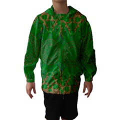 Summer Landscape In Green And Gold Hooded Wind Breaker (kids) by pepitasart