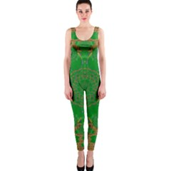 Summer Landscape In Green And Gold Onepiece Catsuit by pepitasart