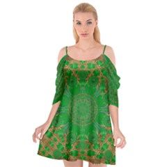 Summer Landscape In Green And Gold Cutout Spaghetti Strap Chiffon Dress by pepitasart