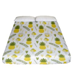 Pineapple Fruit And Juice Patterns Fitted Sheet (queen Size) by TastefulDesigns