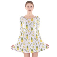 Pineapple Fruit And Juice Patterns Long Sleeve Velvet Skater Dress by TastefulDesigns