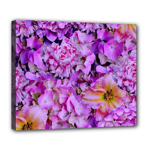 Wonderful Floral 24 Deluxe Canvas 24  X 20   by MoreColorsinLife