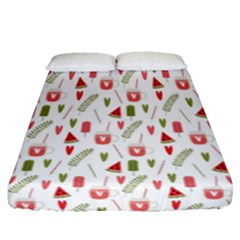Watermelon Fruit Paterns Fitted Sheet (queen Size) by TastefulDesigns