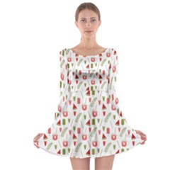 Watermelon Fruit Paterns Long Sleeve Skater Dress by TastefulDesigns