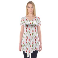 Watermelon Fruit Paterns Short Sleeve Tunic  by TastefulDesigns