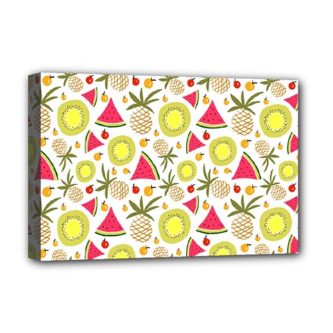 Summer Fruits Pattern Deluxe Canvas 18  X 12   by TastefulDesigns