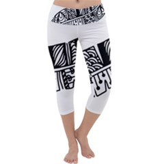 Feather Zentangle Capri Yoga Leggings by CraftyLittleNodes