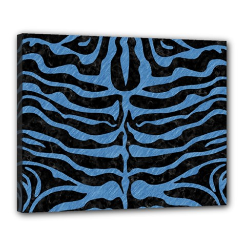 Skin2 Black Marble & Blue Colored Pencil Canvas 20  X 16  (stretched) by trendistuff