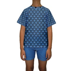 Scales2 Black Marble & Blue Colored Pencil (r) Kids  Short Sleeve Swimwear by trendistuff