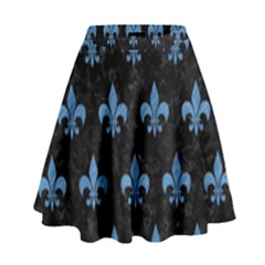 Royal1 Black Marble & Blue Colored Pencil (r) High Waist Skirt by trendistuff