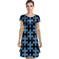 Puzzle1 Black Marble & Blue Colored Pencil Cap Sleeve Nightdress by trendistuff