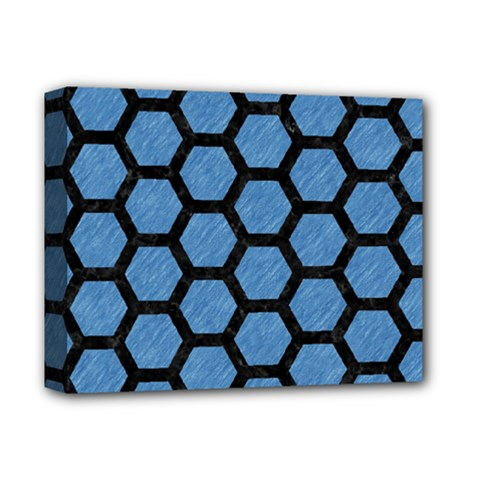 Hexagon2 Black Marble & Blue Colored Pencil (r) Deluxe Canvas 14  X 11  (stretched) by trendistuff