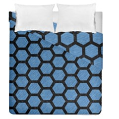 Hexagon2 Black Marble & Blue Colored Pencil (r) Duvet Cover Double Side (queen Size) by trendistuff