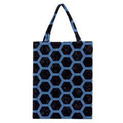 Hexagon2 Black Marble & Blue Colored Pencil Classic Tote Bag by trendistuff