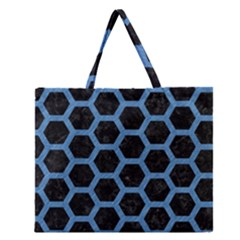 Hexagon2 Black Marble & Blue Colored Pencil Zipper Large Tote Bag by trendistuff