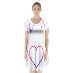 Heart Flame Logo Emblem Short Sleeve V Neck Flare Dress