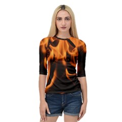 Fire Flame Heat Burn Hot Quarter Sleeve Tee
