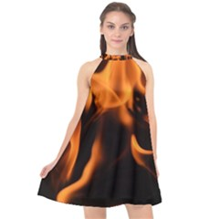 Fire Flame Heat Burn Hot Halter Neckline Chiffon Dress